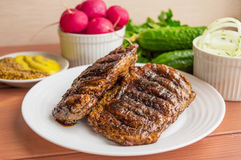Grisköttbiff som grillas Royaltyfri Fotografi