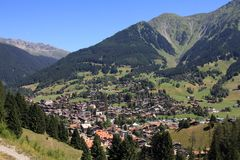 Grisons landscape. Klosters - beautiful Swiss town located in Plessur Range of Alps. Canton of Grisons Graubunden Royalty Free Stock Photos