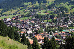 Grisons, Switzerland. Klosters - Swiss town located in Plessur Range of Alps. Canton of Grisons (Graubunden Stock Photos