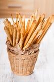Grissini in basket Stock Photo