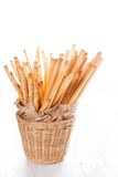 Grissini in basket Stock Images