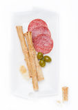 Grissini bread sticks with salami and cheese Stock Photo