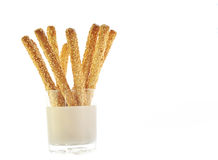 Grissini bread sticks with sesame. Isolated on white Stock Images