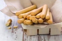 Grissini - fresh breadsticks in a basket Stock Images