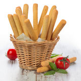Grissini - fresh breadsticks in a basket Royalty Free Stock Photos