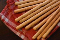 Grissini italians snack with rosemary and salt. Italian food snacks Royalty Free Stock Photo