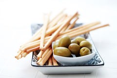 Grissini and olives Royalty Free Stock Photo