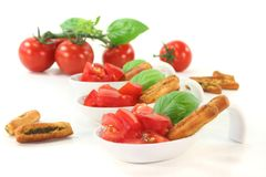 Grissini with Tomato and Basil Royalty Free Stock Image