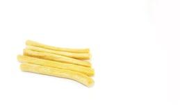 Grissini, vara de pão salgada no fundo branco Fotos de Stock Royalty Free