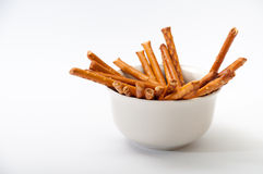 Grissini in a white bowl Royalty Free Stock Images