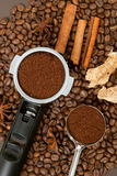 Grist caffee in filter and spoon Stock Images