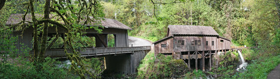 1876 Grist Mill & Covered Bridge Panorama Royalty Free Stock Photography