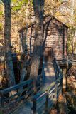 Grist Mill in Stone Mountain Park, USA. Grist Mill and the wooden bridge in the Stone Mountain Park in sunny autumn day, Georgia, USA Royalty Free Stock Photo