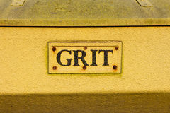 Grit Bin. A closeup to a grit storage container Stock Photos