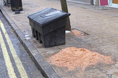 Grit Bin. And Salt for Icy Streets at Winter Royalty Free Stock Image