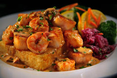 Grit Cakes and Shrimp with Veggies Royalty Free Stock Images