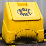 Grit Salt. A grit salt bin ready for use in cold weather conditions Stock Photography