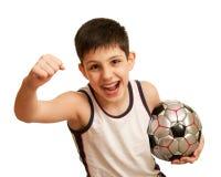 Gritando o miúdo feliz de sua vitória Fotos de Stock