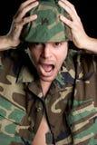 Gritando o soldado Imagem de Stock Royalty Free
