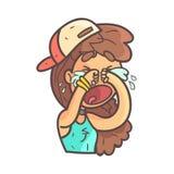 Gritando para fora menina alta no tampão, na gargantilha e mão superior azul no retrato esboçado fresco tirado de Emoji ilustração do vetor