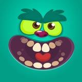 Gritar assustador da cara do monstro dos desenhos animados Monstro azul do vetor com boca grande ilustração royalty free