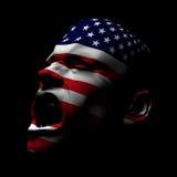 Gritar do homem da bandeira dos EUA Foto de Stock Royalty Free