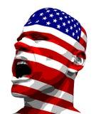 Gritar do homem da bandeira dos EUA Imagens de Stock Royalty Free