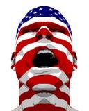 Gritar do homem da bandeira dos EUA Fotografia de Stock