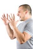 Gritar do homem isolado no fundo branco Imagens de Stock