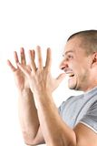 Gritar do homem isolado no fundo branco Imagem de Stock