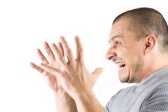 Gritar do homem isolado no fundo branco Fotos de Stock