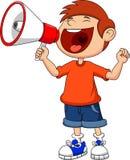 Gritar e gritaria do menino dos desenhos animados em um megafone Fotos de Stock