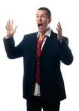 Gritar para fora forçado do homem de negócios isolado no branco Fotos de Stock Royalty Free