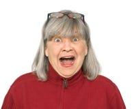 Gritar sênior da mulher Fotografia de Stock
