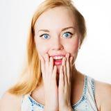 Gritar surpreendido da mulher surpreendido na alegria Fotos de Stock Royalty Free