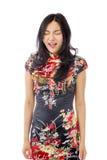 Gritaria asiática da jovem mulher Fotografia de Stock