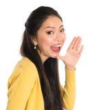 Gritaria asiática da mulher Fotos de Stock Royalty Free