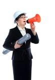 Gritaria da mulher de negócio através do megafone imagem de stock