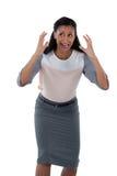 Gritaria da mulher de negócios contra o fundo branco imagem de stock royalty free