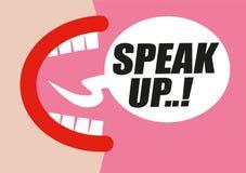 A gritaria da mulher FALA ACIMA na bolha da palavra - protestando para direitos das mulheres, da igualdade e do comportamento sex ilustração stock
