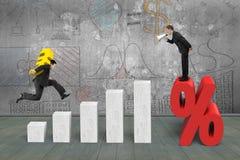 Gritaria do homem de negócios na marca da porcentagem um outro euro levando Imagem de Stock
