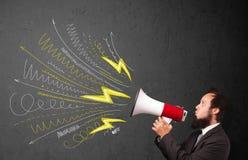 Gritaria do indivíduo do líder no megafone com linhas e arr tirados mão Imagens de Stock