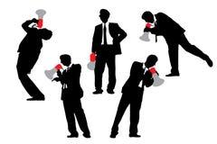 Gritaria dos homens de negócio pelo megafone Fotos de Stock Royalty Free