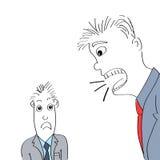 Gritaria irritada do chefe no empregado Imagens de Stock