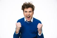 Gritaria irritada do homem de negócio Fotos de Stock Royalty Free