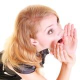 Gritaria loura do buisnesswoman da mulher isolada Fotos de Stock Royalty Free