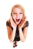 Gritaria loura do buisnesswoman da mulher isolada Foto de Stock