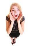 Gritaria loura do buisnesswoman da mulher isolada Imagem de Stock Royalty Free