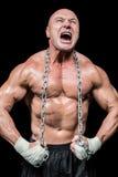 Gritaria muscular do homem ao dobrar o músculo foto de stock