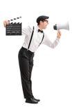 Gritaria nova do diretor de filme em um megafone Imagem de Stock Royalty Free